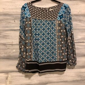 LOFT blue/black/white blouse w/cuffed sleeves